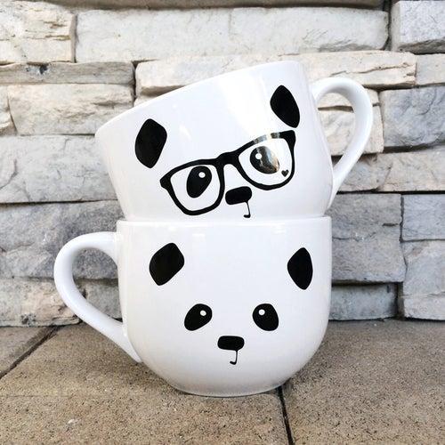 Image of Panda Face / Nerdy Panda Ceramic Soup Mug