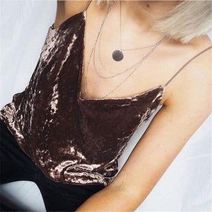 Image of Velvet Spaghetti Strap Winter Sexy Tops Coffee