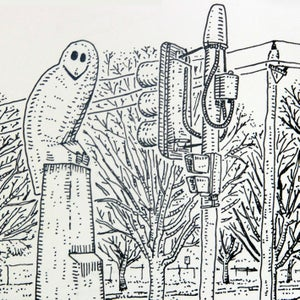 Image of An original drawing of the Belconnen Owl in Canberra.