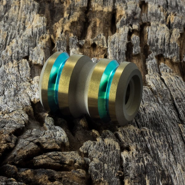 Image of Tank Lime Green & Light Bronze Ti Bead #2