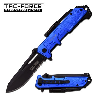 Image of Blue Police Spring Assisted Knife with Flashlight