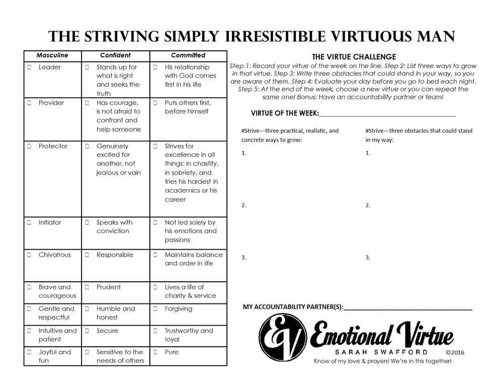 Image of Virtue Challenge Laminated Sheet (For Men - Women on the Flip Side)