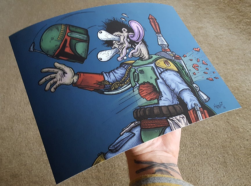 Image of 'Blastered' Boba Fett - Signed/limited Print