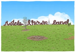 Image of An original drawing of the 'Wide Brown Land' sign in Canberra.