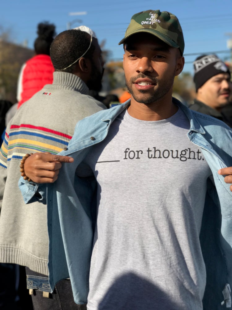 Image of ____ for thought. (Grey)