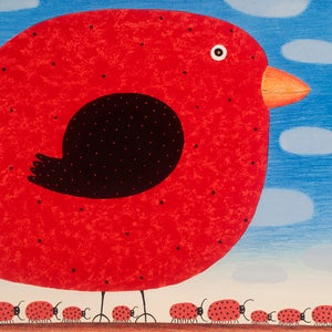 Image of Red Canary with Ladybird Army 2016 - Lithograph
