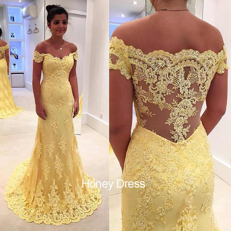 Image of Designer Yellow Lace Appliques Sweep Train Sheer Back Evening Gown With Off-The-Shoulder