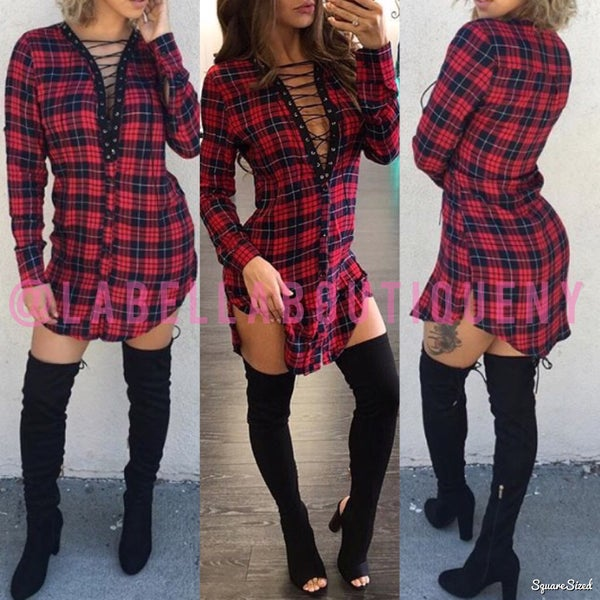 Image of LACE UP FLANNEL (RED)