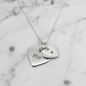 Image of Personalised double love heart sterling silver necklace