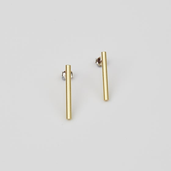 Image of Long Bar Studs - Brass and Sterling Silver