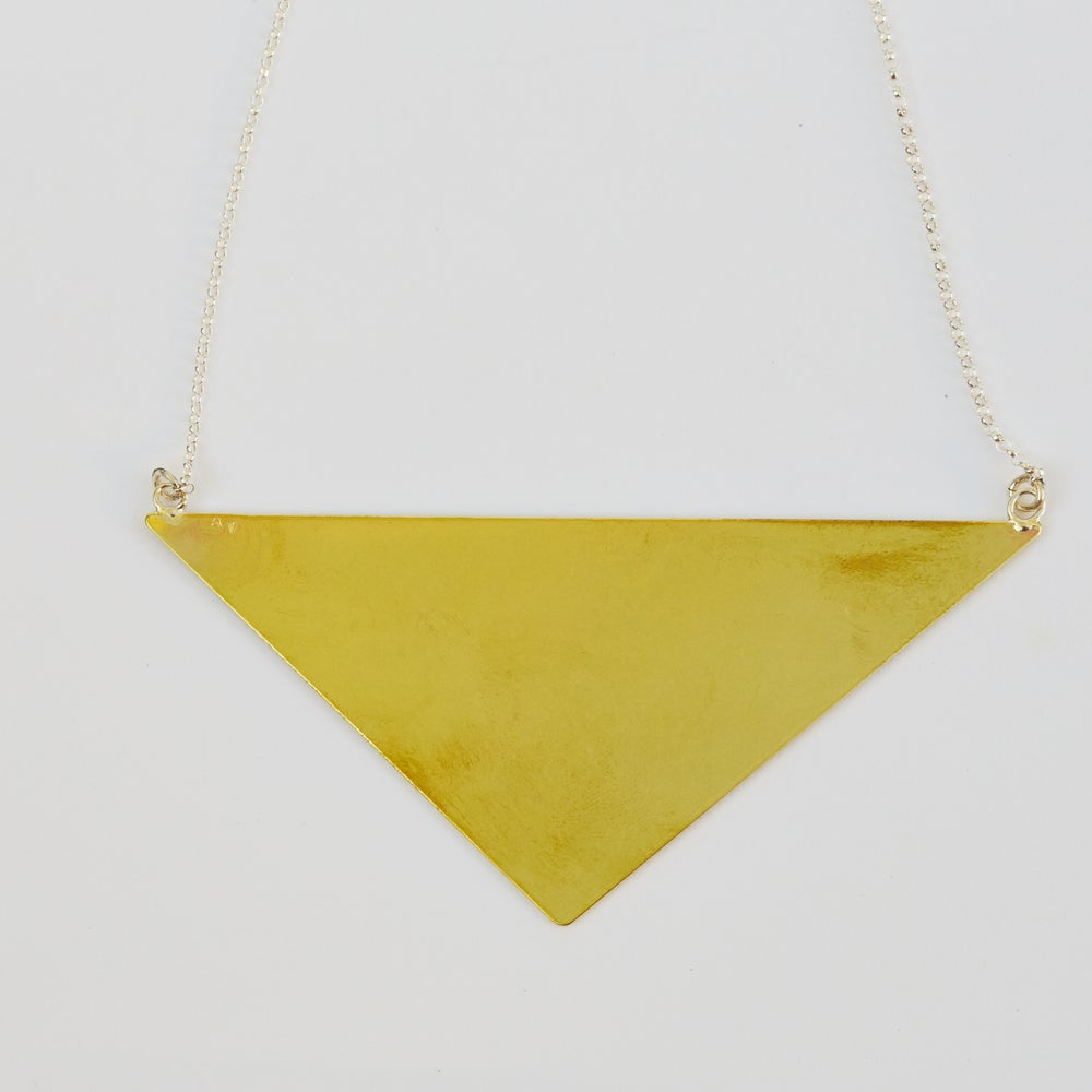 Image of Triangle Necklace - Brass and Sterling silver