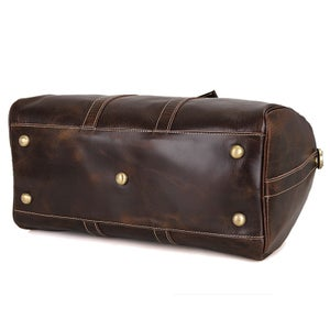 Image of Handmade Vintage Leather Duffle Bag / Travel Bag / Luggage / Sport Bag Gym Bag / Weekend Bag (N66-4)