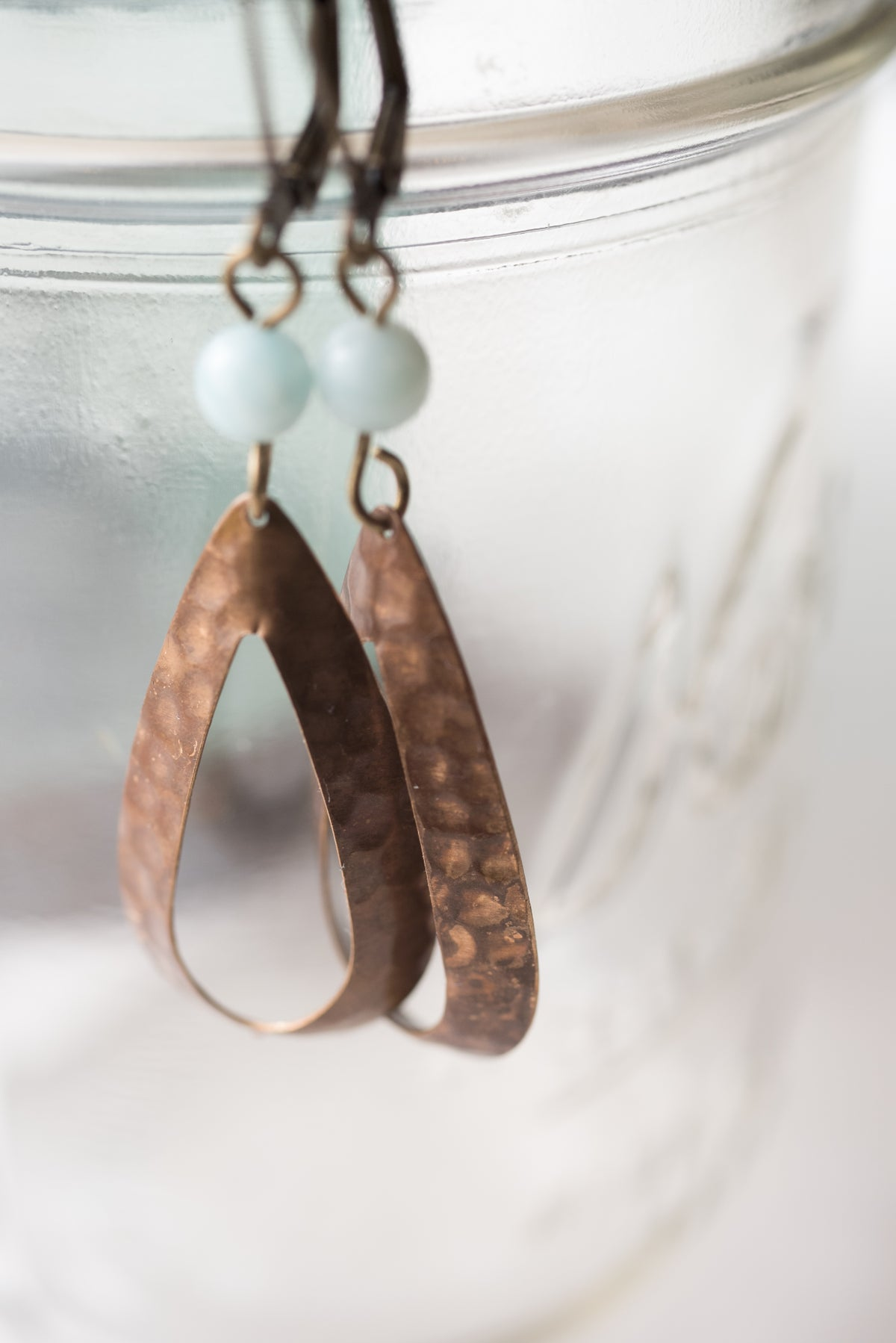 Image of Amazonite and Antique Brass Teardrop Earrings