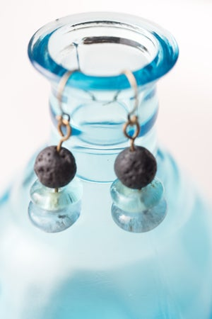 Image of Lava Stone and Glass Earrings