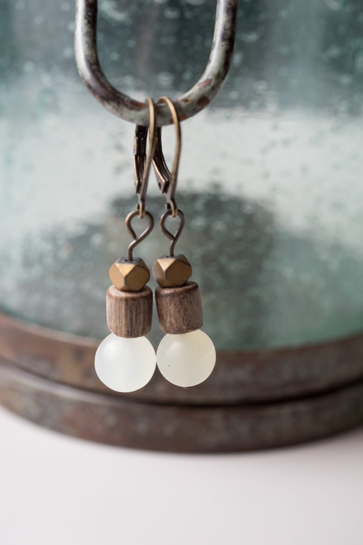 Image of Jade, Metal, and Wood Earrings