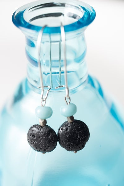 Image of Amazonite and Lava Stone Earrings