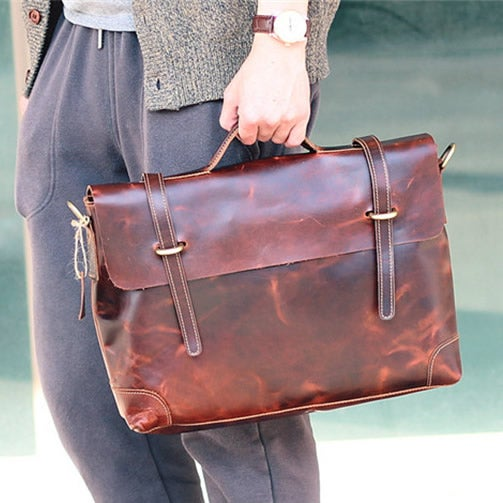 "Image of Handmade Leather Briefcase / Leather Messenger Bag / 13"" 15"" MacBook 13"" 14"" Laptop Bag (n367)"