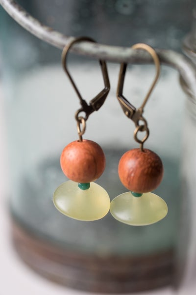 Image of Wood and Afghan Jade Earrings