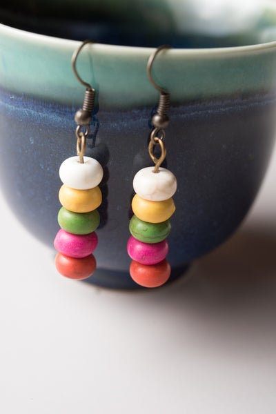 Image of Colored Bead Earrings