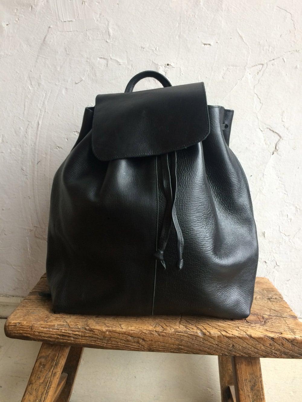 Image of Moyi Moyi Black Leather Backpack