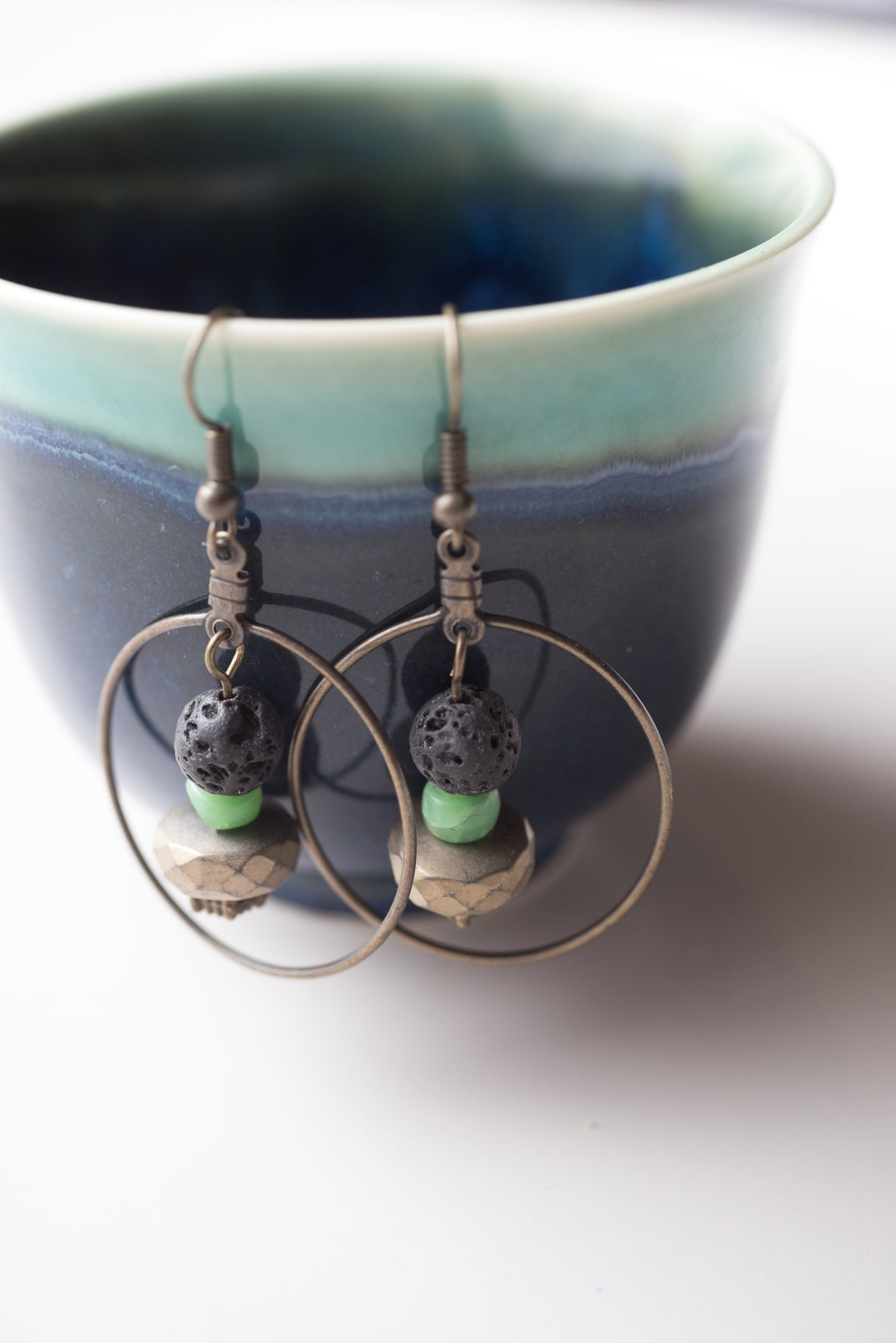 Image of Antique Brass, Lava Stone, and Metal Earrings