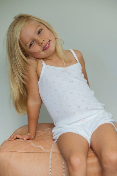 Image of GIRLS HEARTS SHORT White, Blue, Pink, Grey Heather