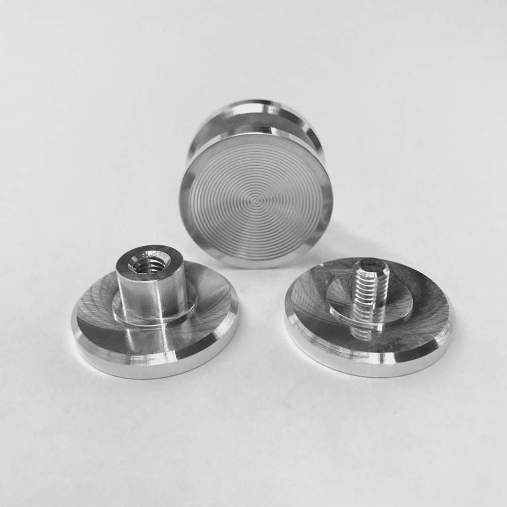 """Image of Aluminum """"F"""" Spinner Fidget Toy Bearing Button"""