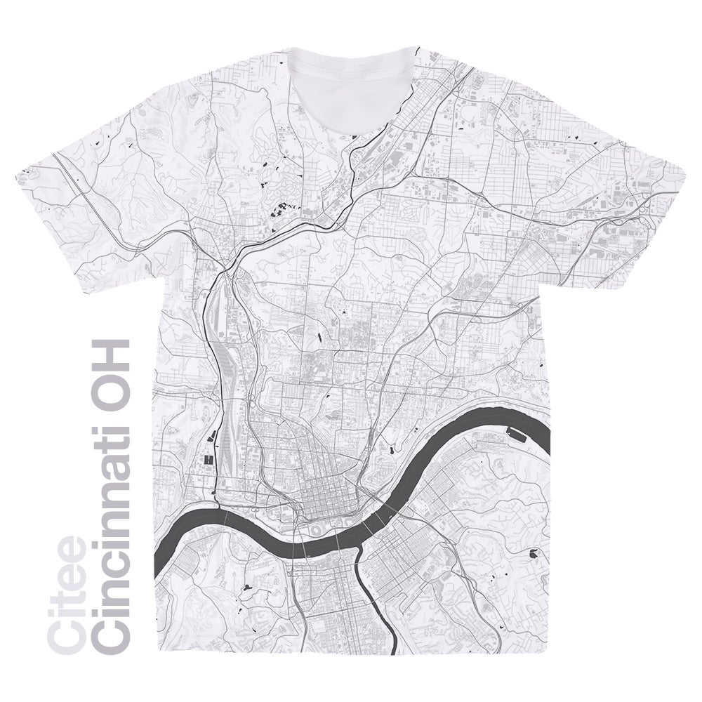 Image of Cincinnati OH map t-shirt