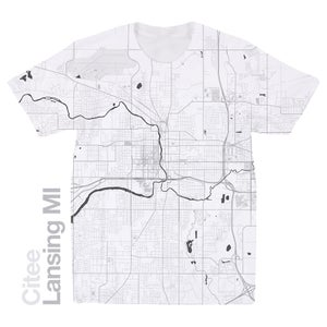 Image of Lansing MI map t-shirt