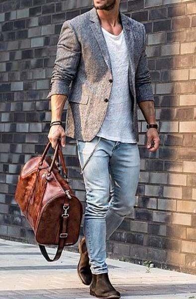 Image of Men's Large Handmade Vintage Leather Duffle Bag / Travel Bag / Luggage / Weekend Bag (N66L)