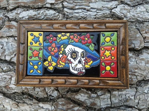 Image of Catrina Hat Rectangle Wood Framed Tiles