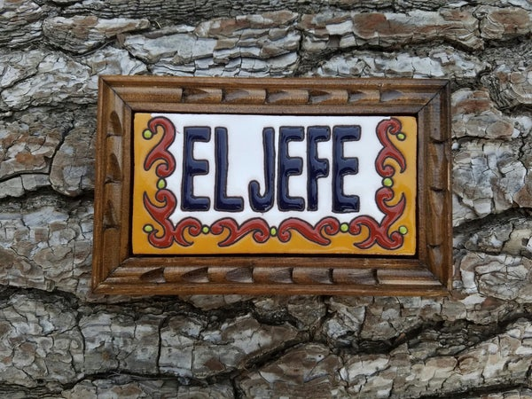 Image of La Jefe Rectangle Wood Framed Tiles