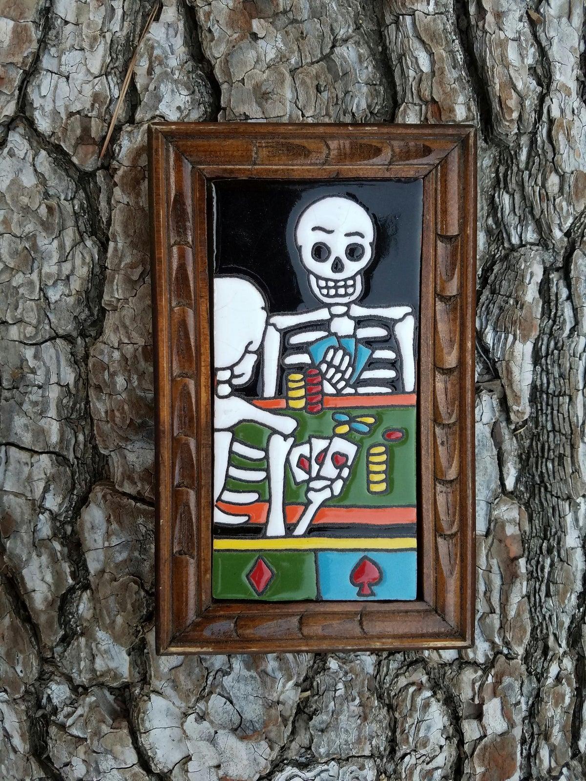 Image of Poker Rectangle Wood Framed Tiles