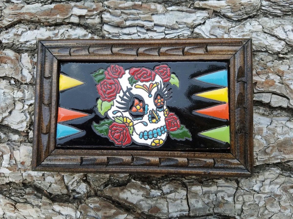 Image of Red Roses Rectangle Wood Framed Tiles