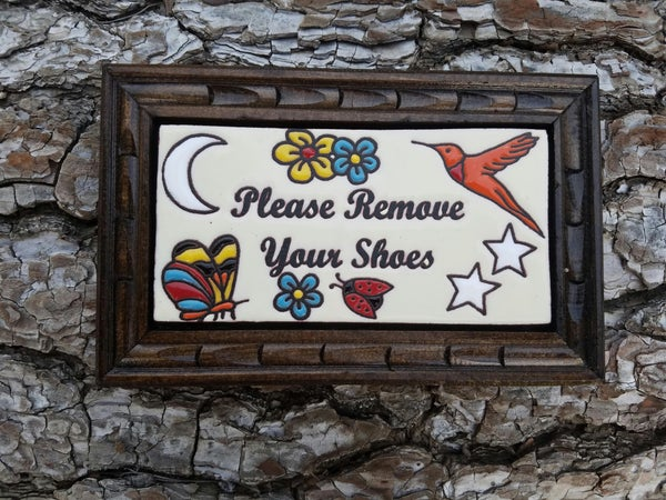Image of Remove Shoes Rectangle Wood Framed Tiles
