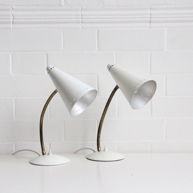 Image of Pair of white and brass maclamps c1950 SALE was £195