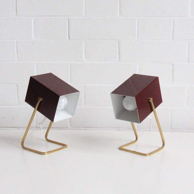 Image of Pair of minimalist  'Cube' lights by Kaiser Leuchten (Germany)