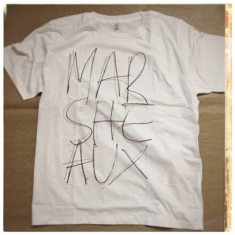 Image of MARSHEAUX: Logo Tshirt (black/red lettering in white shirt)