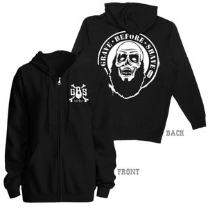 Image of GRAVE BEFORE SHAVE Zombie Beard Zip Up Hoodie