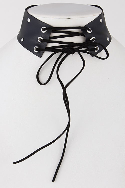 Image of Leather Stud Corset Choker