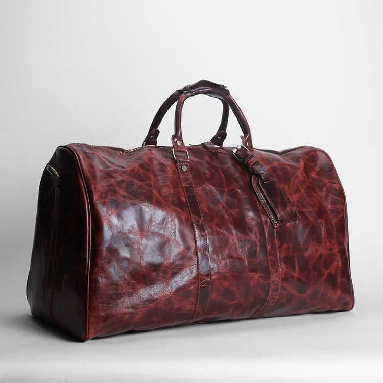 Image of Large Handmade Vintage Leather Duffle Bag / Travel Bag / Luggage / Weekend Bag #N66L Limited Edition