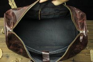 Image of Large Handmade Vintage Leather Duffle Bag / Travel Bag / Luggage / Weekend Bag #N66L Limited Edition