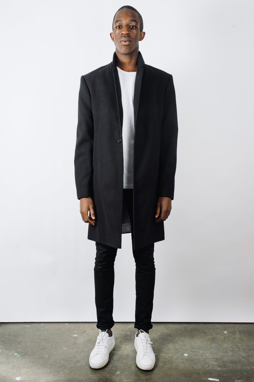 Image of Black Cashmere/Wool Overcoat