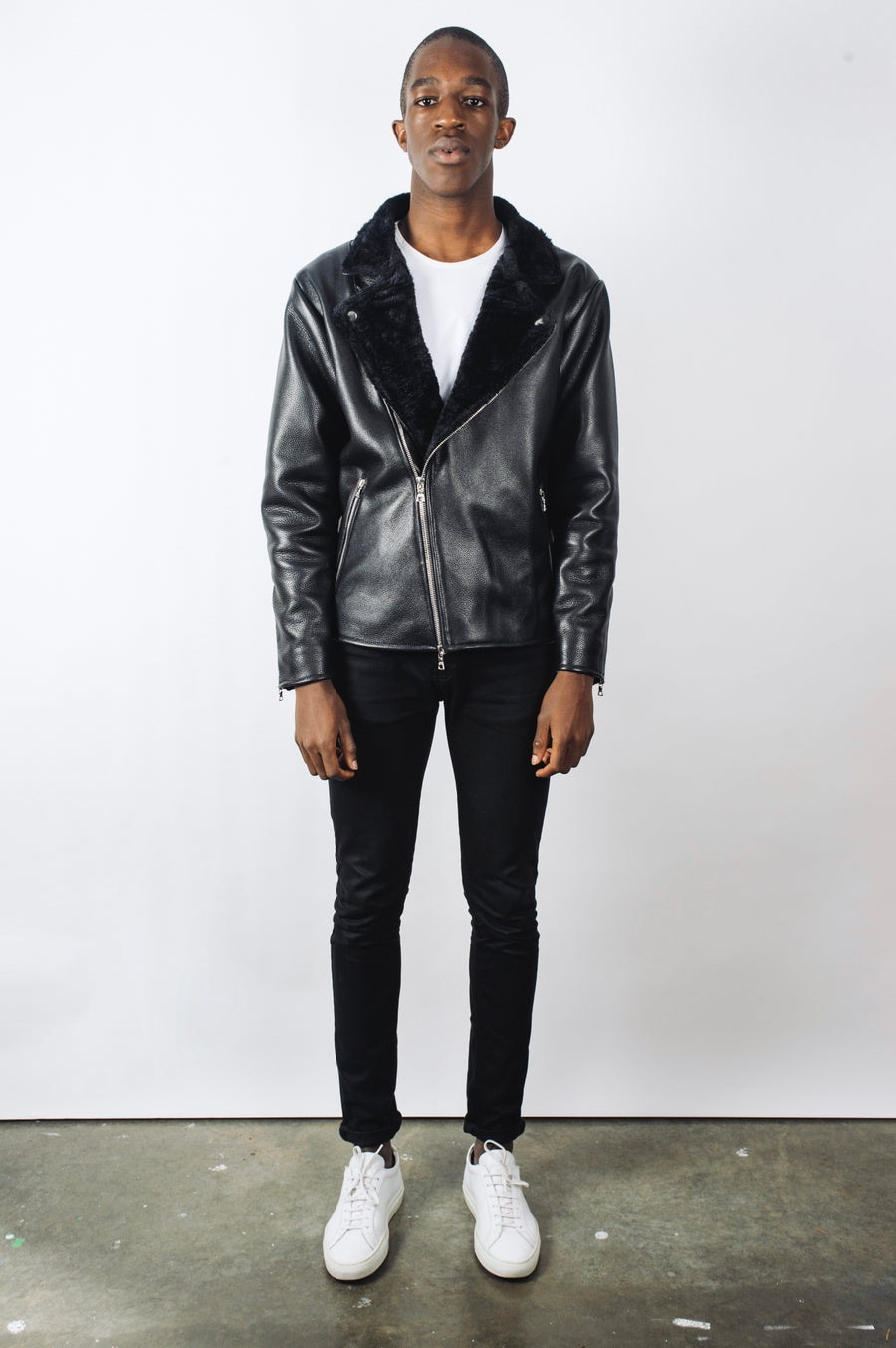 Image of Pebble Grain Leather Biker Jacket