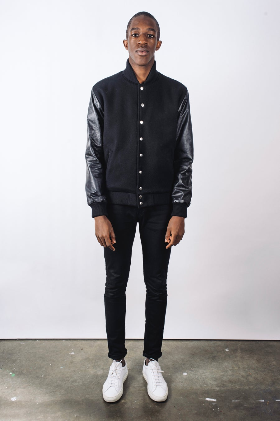 Image of Black Sleeved Cashmere/Wool Varsity