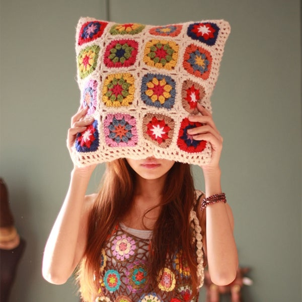 Image of Crochet Daisy Pillow Cover