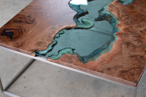 Image of claro walnut burl river coffee table