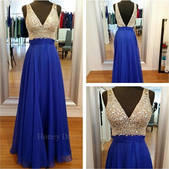 Image of Gorgeous Chiffon Royal Blue A-line Beaded Bodice Low V-Neck Long Prom Dress With V-Back