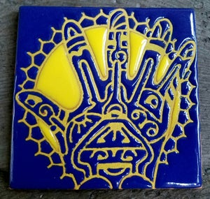 Image of Blue Tribal Hand Coaster Tile