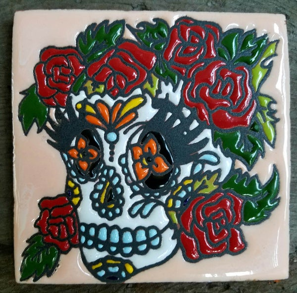 Image of Skull With Roses Coaster Tiles